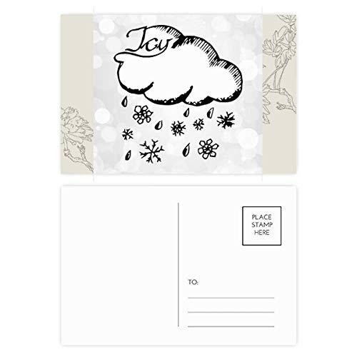 Copo de nieve nublado pintado a mano patrón flor postal conjunto de tarjetas de agradecimiento lateral 20 piezas