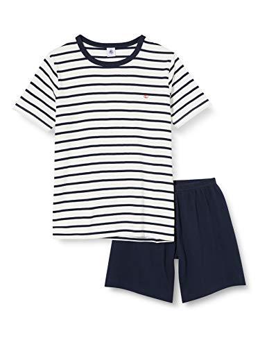 Petit Bateau 5548001 Bas de Pyjama, Multicolore (Marshmallow/Smoking Bek), (Taille Fabricant:10 Ans) Garçon
