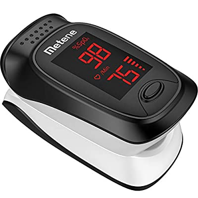 Metene Fingertip Pulse Oximeter, Blood Oxygen Saturation Monitor with Alarming Beep, Portable SpO2 Meter with Batteries and Lanyard