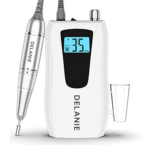 Delanie Electric Nail Drill Nail Files For Acrylic Nails Professional 35000RPM Portable Efile Rechargeable Pedicure for Gel Nails Home and Salon Use with 6 Bits and 6 Sanding Bands White