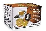 Ship - Té Negro con Naranja en Caja de 25 Unidades - Propiedades Antioxidantes - Ayuda a Activar la Mente - Aporta Vitaminas y Minerales - Sabor Dulce