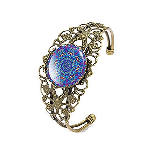 Pulseras del encanto del arte de la flor del mandala, pulseras de cristal de la cúpula, joyería
