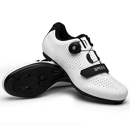 Mens Road Bike Cycling Shoes Compatible with Peloton SPD & Look ARC Delta Indoor Racing Bikes Shoes with Rotating Buckle for Men/Women Quick Lock Cleat Outoor Bicycle Shoe White12