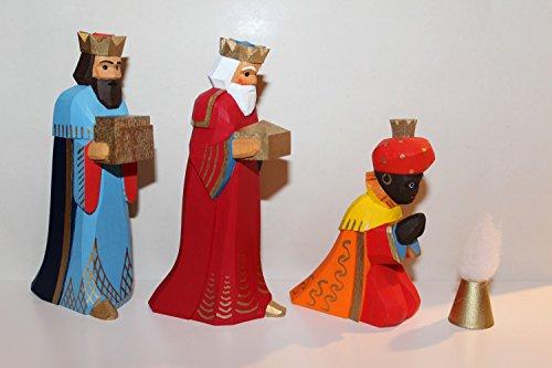 Lotte Sievers-Hahn Krippenfiguren Set 3 Könige mit Caspar orange und Geschenk im Baumwollbeutel