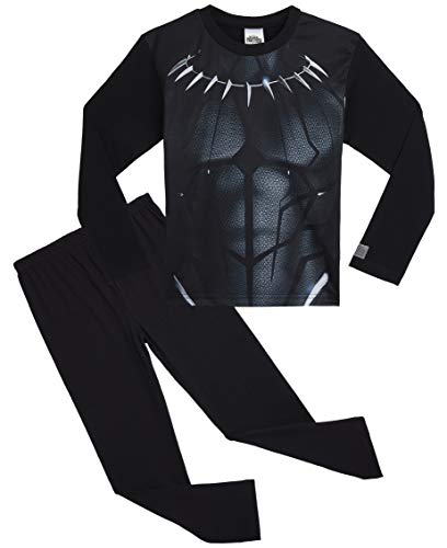 Marvel- Black Panther Schlafanzug für Jungen | Superhelden-Kostüm mit Logo | Langarm-Oberteil & Hose | Zum Schlafen & für daheim | Avengers Merchandise | Aus Baumwolle (7/8 Jahre)