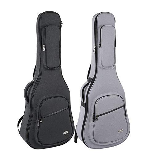 HYCSP gitaar tas voor 41 inch akoestische en klassieke gitaar Gig Bag, 10 MM extra dikke spons gewatteerd, naam venster. Waterdichte Gitaar Case, zachte gitaar rugzak Case Grijs