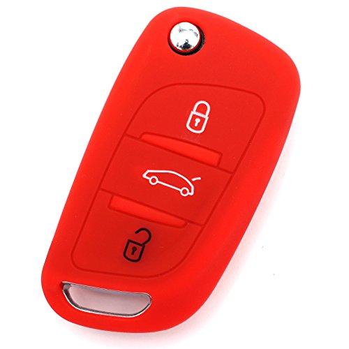 Finest-Folia - Funda de silicona para llave de coche con 3 botones, color rojo