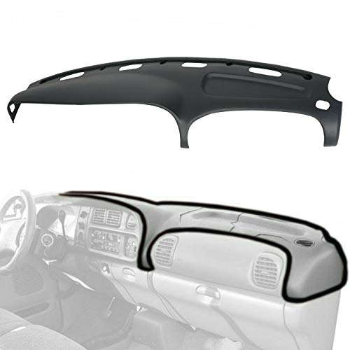 ECOTRIC Grey Molded Plastic Dash Pad Cover Dash Protector Dashboard Overlay Fits 1998-2002 Dodge Ram Trucks