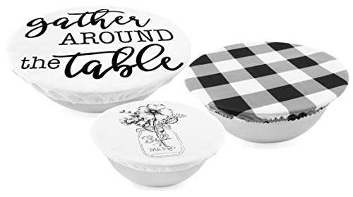 AuldHome Reusable Fabric Bowl Covers (Set of 3); Rustic Farmhouse Themed Black and White Stretchy Cloth Bowl Covers