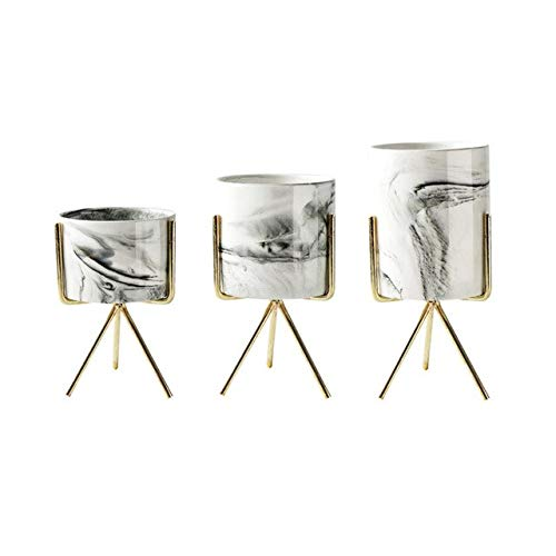 HONIC 3pcs / Set Keramik Eisen Bonsai Vase Tisch Succulents Flowerpot Marmor Muster Flowepot Home Office Desktop-Dekor-Blumentopf: Gold