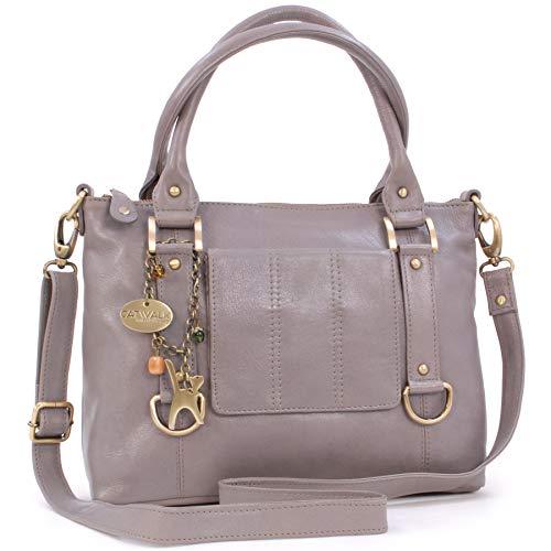 Catwalk Collection Handbags - Leder - Umhängetasche/Handtasche - Handtasche mit Schultergurt/Schultertasche - GALLERY - Grau