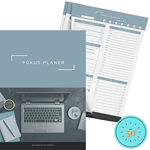 gestern.heute.morgen   Produktivitätsplaner A5 Tagesplaner 50 Blatt Block, Daily Planer mit To-Do Liste, Fokus Journal, Tagesplan/Kalender ohne Datum (50 Blatt - A5)