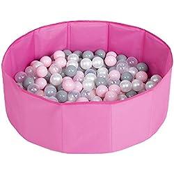 Selonis Piscine À Balles Multicolores Piscine Pliable 200 Balles Pour Les Enfant, Rose: Perle/Gris/Transparent/Rose Poudré
