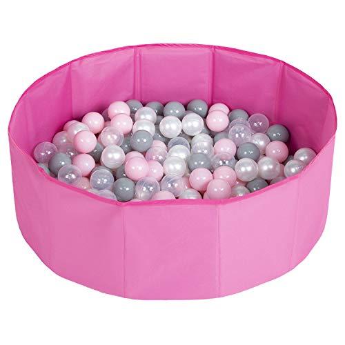 Selonis Faltbare Bällebad Mit 100 Bälle Für Kinder Haustiere Spielbad, Rosa:Perle/Grau/Transparent/Puderrosa