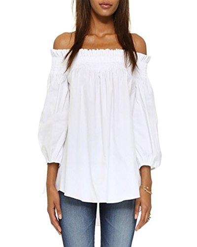ZANZEA Damen Schulterfrei 3/4 Arm Freizeit Party Strand Lose Tops Shirt Bluse Weiß XXXL