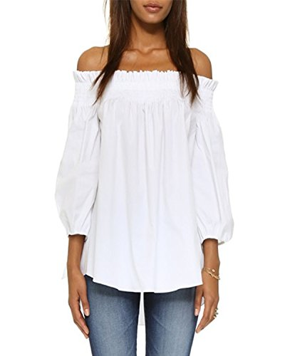 ZANZEA Damen Schulterfrei 3/4 Arm Freizeit Party Strand Lose Tops Shirt Bluse Weiß L