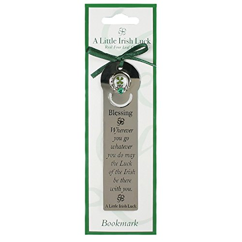 A Little Irish Luck Four Leaf Clover And Claddagh With Blessing Metal Bookmark