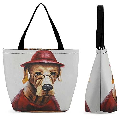 Perro con gafas bolsa de compras para señoras bolsa de asas personalizada inicial bolsas para mujeres