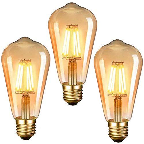 Retro Vintage Glühbirne, LED Dekorative Antike Leuchtmittel Globe Birne, warmweiß Filament Lampe, Amber Glas, Ideal für Nostalgie und Retro Beleuchtung (ST64-E27)