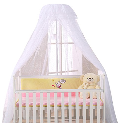 Freahap Baby Crib Netting Mosquito Net for Kids Bed Canopy White (Net + Holder)