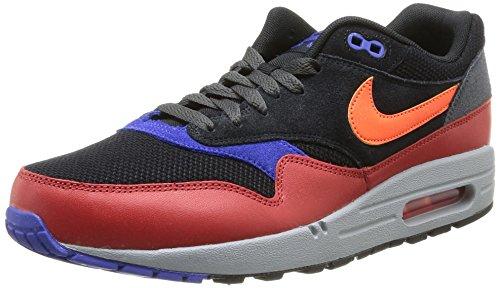Nike Air Max 1 Essential Unisex-Erwachsene Laufschuhe Training Mehrfarbig (Black/Hyper Crimson-Red Clay) 44.5