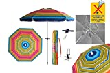 Pincho Sombrilla Playa 2m Aluminio UPF+50 99% UV Punta de Aluminio Reforzado 16 Varillas Anti torsión. (Multicolor)