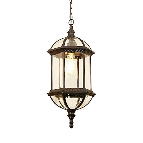 Außen High Light Glass Ceiling Pendelleuchte Victorian Aluminium E27 Patio Außenwasserdicht Hängelampe Landwirtschaftliche Landschaft Adjustable Droplight Laterne Veranda Terrasse Zaun Kronleuchter