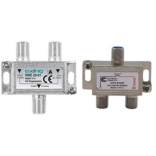 Axing SWE 20-01 Miscelatore combinatore diplexer per segnale tv satellitare e digitale terrestre & Elettronica Cusano UV40 Miscelatore Antenna Satellitare e Terrestre, Grigio