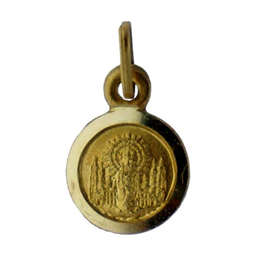 SACRE COEUR - Medalla de la Virgen del Pilar | Oro 18 Quilates | 9 x 9mm | Acabado con Bisel Liso
