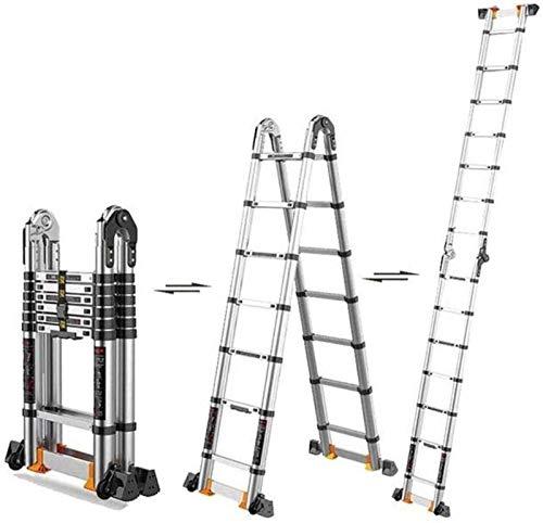 LYQQQQ Las Huellas Paso de heces de Aluminio Escalera Plegable no Slip Hecho de Aluminio Ligero de Acero Resistente portátil con Base Antideslizante (Size : 3.4m+3.4m)