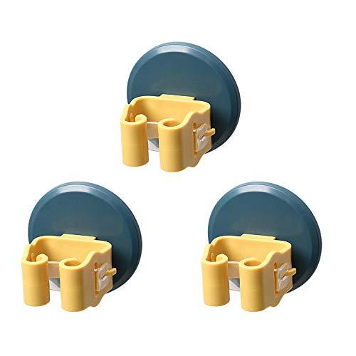 3 unids Mop y soporte de escoba, sin perforación autoadhesivo Mop Organizador de montaje en pared Soporte de la escoba para la cocina para la cocina Closet Garden Garage-azul