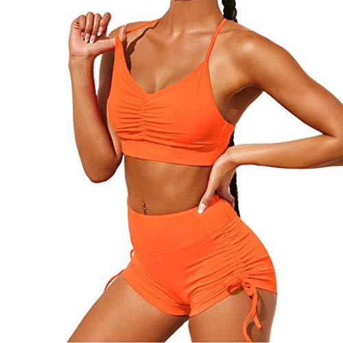 YOYOHO Chándal Femenino de 2 Piezas Halter Cuello en V Crop Top Fruncido Cordón Pantalones Cortos Trajes - L # Naranja
