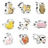 Crethink - Juego de cortadores de galletas de acero inoxidable, 9 piezas, para hornear, cerdo, perro, pollo, pato, conejo, gato, vacas, búho, cervatillo