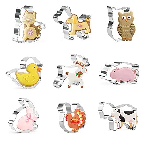 Crethink - Set di 9 formine per biscotti a forma di animale, in acciaio inox, per la cottura di maiale, cane, pulcino, anatra, coniglio, gatto, mucche, gufo, cervo