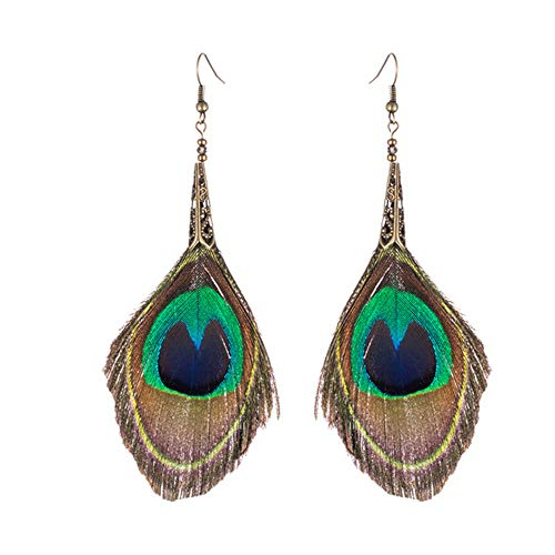 Beautywin Women Big Long Natural Peacock Feather Bohemian Ethnic Trendy Hanging Drop Earring For Wedding Party Jewelry