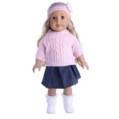 Puppenkleidung Puppenkleid Outfit Pullover Rock Hut Set Winterkleidung Puppenzubehör Passend für 18 Zoll American Girl Dolls