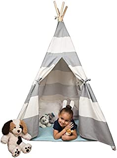 Svan Kids Canvas Teepee Tent - 5 ft Tall Play Tent for Boys & Girls - Foldable Playhouse for Indoor Use - Made of Durable Cotton w Pine Wood Frame