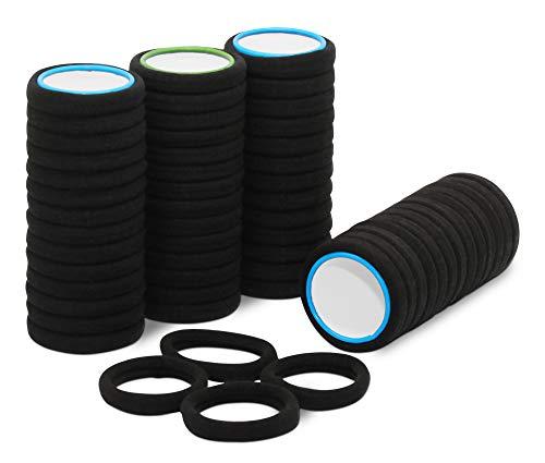 50 Stück Haargummi schwarz aus hochwertiger Baumwolle, ideal für den alltäglichen Gebrauch. Elastisches Haarband | Zopfband ist als Haarschmuck ohne Metallbügel bestens für Damen & Mädchen geeignet