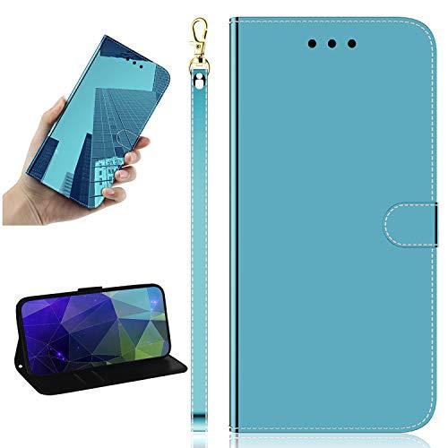 Miagon Spiegel Effekt Brieftasche Hülle für Samsung Galaxy S8,Schlank PU Leder Flip Make-Up Schutzhülle Standing Wallet Case Cover,Blau