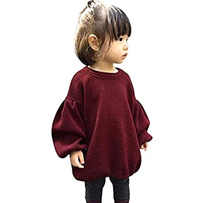 Toddler Baby Girl Knitted Sweater Kid Lentern Sleeve Ruffle Warm Spring Fall Winter Pullover Tops Outfits (Wine Red, 2-3T)