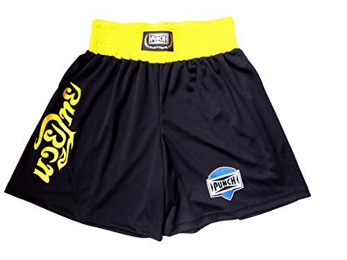 Shorts Muay Thai Com Silk Thai - Médio Punch Unissex M Preto Com Amarelo