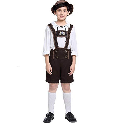 WLYX Jungen Oktoberfest Outfits Bayerische Lederhosen Trachten Deutsches Bierfest Shorts mit Hemd und Hut Halloween Cosplay Kostüm (XL)
