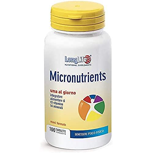 Micronutrients LongLife   Integratore Multivitaminico - Benessere Psico-Fisico   Funzione Immunitaria   100 tav   Doping Free