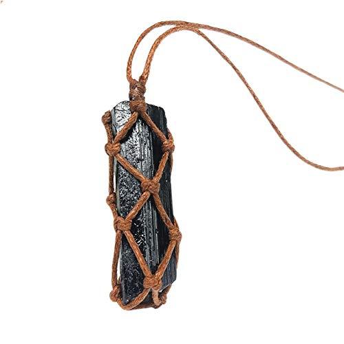 seawardi - Colgante de turmalina Negra Natural, Colgante de Piedra Preciosa en Bruto Retro, Colgante de radiación Mineral de Piedra Trenzada a Mano a Base de minerales Naturales