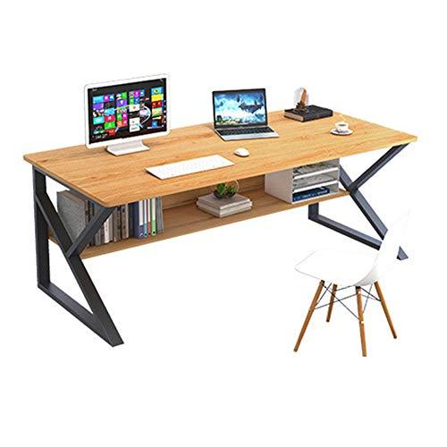 Escritorio casero del escritorio del escritorio del ordenador, Escritorio de estudiante de marco sólido en forma de K, Banco de trabajo moderno y sencillo con tablero de almacenamiento