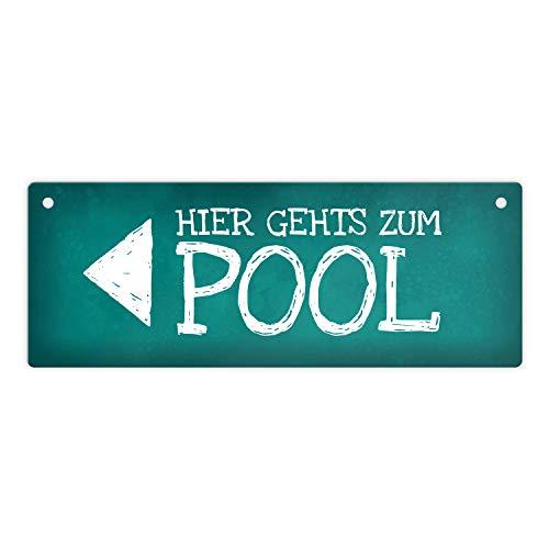 Links gehts zum Pool Metallschild Swimmingpool Schwimmen tauchen Wasser abkühlen