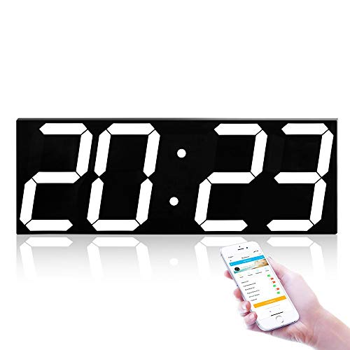Tesysyet Reloj De Pared De Caja De LED Digital De 4 Dígitos, Conexión WiFi Creativa, Silenciador De Reloj Electrónico Multifunción, For Ocasiones Domésticas/Al Aire Libre/Públicas (45 * 16 * 2.4CM