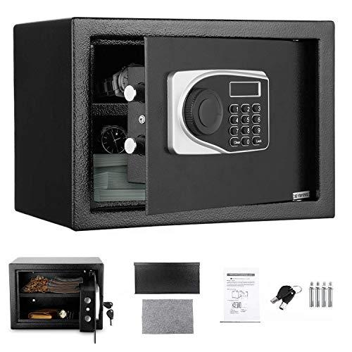 Caja fuerte electrónica, LED caja fuerte para el hogar y la oficina, caja fuerte de pared, caja fuerte para pasaportes, dinero en efectivo, joyas, almacenamiento de 0,56 Kubikfuß capacidad