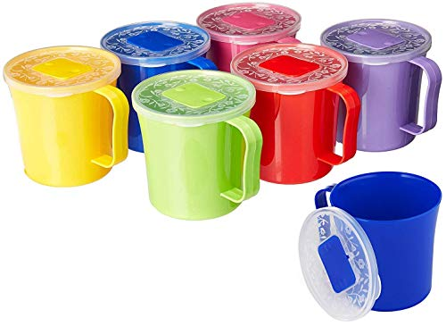 Zilpoo 6 Pack - Soup Mug with Vented Lid and Handle 20 Ounce | Plastic Microwaveable Oatmeal Cereal Cup with Cover | Microwave Safe Lidded Bowl