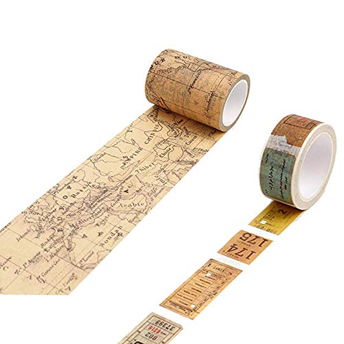 2 Rouleaux Vintage Stickers Scrapbook, Washi Tape Autocollants rétro Bricolage, Rouleaux Washi Tape Ruban Adhésif Papier, Rétro Masking Tape Adhésif Ruban adhésif pour DIY décoration Fournitures